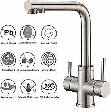 3-Wege-Küchenarmatur mit Filterwasserweg,
