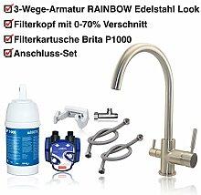 3-Wege-Wasserhahn RAINBOW Edelstahl Look + BRITA Untertisch-Wasserfilter Installationskit: Filterkartusche BRITA P1000, Filterkopf, Schläuche, Eckventiladapter.