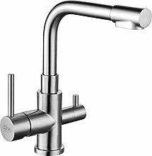 3-Wege-Wasserhahn TORINO INOX, Edelstahl Massiv für AMWAY eSpring Wasserfilter geeignet. Küchenarmatur , Spültischarmatur , Mischbatterie , Dreiwege Wasserhahn , Für Osmoseanlagen Trinkwasseranlagen