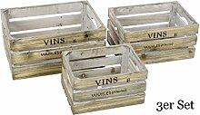 3 Weinkisten aus Holz zur Dekoration - Vintage Design - 3er Set Dekokisten Deko
