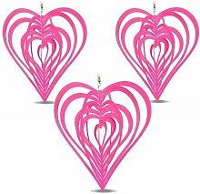 3 Windspiele Rosa Herz aus Stahl Garten Deko