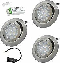 3 x 3W LED MöbelEinbauleuchten 12V super flach