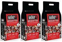 3 x 8kg WEBER BBQ Grillbriketts Holzkohle Brikett