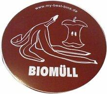 3 x AUFKLEBER Biomüll MÜLLTRENNUNG;MÜLLEIMER;MÜLLTONNE;ABFALLTRENNER;MÜLL