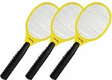 3 x Foetsie Elektrische Gelb Fliegenklatsche Insektenvernichter Fliegenschläger
