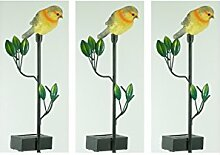 3 x Gartenstecker Gartenfigur Vogel Gartendekoration Blumentopfdekoration Blumentopfdekoration Teichdekoration Pool Terrasse Garten-Treppen Hauseingang (grau-gelb)