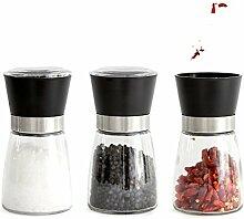 3 x Gewürzmühle aus Glas, Kunststoff Schwarz /