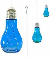 """3 x Glühbirne Lampe Leuchte Gartenlampe Gartendeko mit LED-Beleuchtung zum Aufhängen """"FUNKY LIGHT"""" (blau)"""
