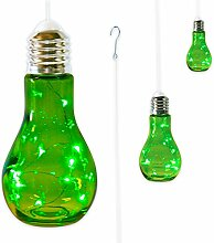 """3 x Glühbirne Lampe Leuchte Gartenlampe Gartendeko mit LED-Beleuchtung zum Aufhängen """"FUNKY LIGHT"""" (grün)"""
