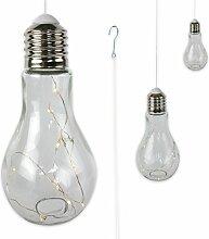 """3 x Glühbirne Lampe Leuchte Gartenlampe Gartendeko mit LED-Beleuchtung zum Aufhängen """"FUNKY LIGHT"""" (klar)"""