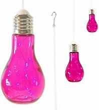"""3 x Glühbirne Lampe Leuchte Gartenlampe Gartendeko mit LED-Beleuchtung zum Aufhängen """"FUNKY LIGHT"""" (pink)"""