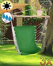 3 x Hängesessel Hängesitz-Liegesessel, stabile Gartenliege, klappbare Sonnenliege -grün dunkelgrün-Naturholz Saunaliege, tragbar, Strandliege, hochwertig bequem und stabil, Sonnenschutz, Dreibeinliege faltbar, verstellbare Klappliege, anthrazit-metallic silber, Strandliegen, Sonnenliegen, Liegestühle, Gartenstühle, Picknickliegen, Gartenmöbel Holz, Feldbetten