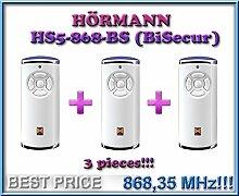 3x Hörmann HS5–868-BS Weiß Fernbedienungen, 868,3MHz BiSecur 5-Kanal Transmitter. Top Qualität Original Hormann Fernbedienung für die besten Preis 3Stück.