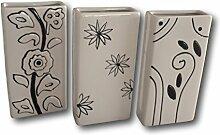 3 x Keramik Luftbefeuchter Wasserverdunster für Heizung Heizkörper Verdunster Flachverdunster weiss schwarz Blumendekor