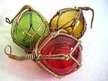 3 X kleine Fischerkugel im Netz- rot, grün, ambere(braun)- Maritime Deko- 7,5 cm