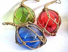 3 X kleine Fischerkugel im Netz- rot, grün, blau- Maritime Deko- 5 cm