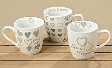 3 x schöne Jumbobecher Hearts aus Porzellan