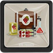 3 x Schubladenknauf für Weinflaschen, Oal Fass