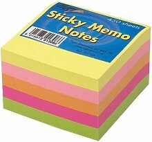 3x Tiger Sticky Memo Notes Neon Block Cube Pad