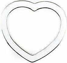 30 Glanz Serviettenringe Herzen mit farbiger Füllung AS , silber/weiß ca. B:5,5cm/H:5cm