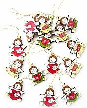 30 kleine Holzengel Weihnachten Anhänger in rot