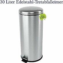 30 Liter Edelstahl Mülleimer, mattierter Tret- Abfalleimer mit abgerundetem Deckel, original Made for us®