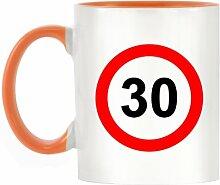 30mph Design bicolor Becher mit Henkel Orange & Innen