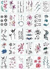 30 Sätze Tattoo-Aufkleber kleine frische Blumen