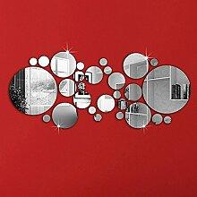 30 Stück niedliche Silber DIY Kreis Spiegel Wand Aufkleber Home Schlafzimmer Büro Dekoration