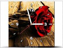 30 x 30 cm - Blumen - ROSE - Tabelle Wanduhr modern - Dekoration - neues DESIGN