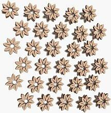 30x Holz Blumen Form Form Verzierung Hochzeit