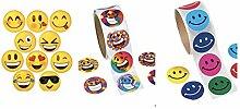 300sortiert Smiley, Aufkleber (3Rollen je 100)