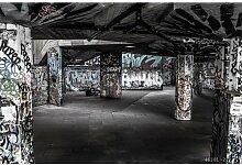 300cmx250cm Clothing Store KTV bar Sofa TV Hintergrund Zement Mauer Graffiti Kunst industrial wind Wandbild Tapeten, Schwarz