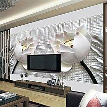 300cmX250cm foto Tapete wand Malerei Moderne Kunst Vliespapier 3D-TV-Vertrag sitzen White Lotus Blumen großes Wandbild Tapeten