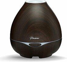 300ml Aroma Diffuser, Paxamo Ultraschall Essential Öl Humidifier Holzmaserung mit 7 Farbe LED Leuchten Wasserlos Auto-Shut-Off-Funktion für Beauty-Salon Wohn-,Bade-,Schlaf-,Büro,Yoga (Dark Wood)