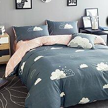 300TC Simple Baumwolle Geometrische Muster Eine vierköpfige Familie(1Bettbezug 1Blatt 2Kissen)-E Queen2