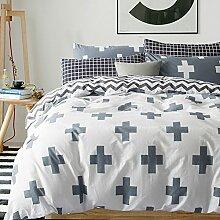 300TC Simple Baumwolle Geometrische Muster Eine vierköpfige Familie(1Bettbezug 1Blatt 2Kissen)-D King