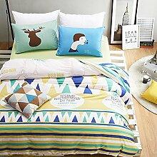 300TC Simple Baumwolle Geometrische Muster Eine vierköpfige Familie(1Bettbezug 1Blatt 2Kissen)-F Queen2