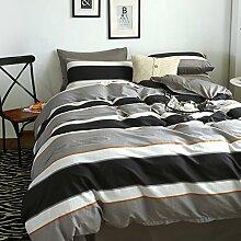 300TC Simple Baumwolle Streifen Eine vierköpfige Familie(1Bettbezug 1Blatt 2Kissen)-A Queen2