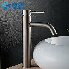 304 TougMoo Edelstahl Waschbecken mit warmen und kalten Wasserhahn Wasserhahn am Waschbecken Schränke,Frosch Falls-Titanium Höhe