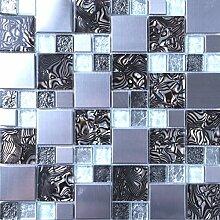30cm x 30cm Matte Glas und Gebürstet Edelstahl