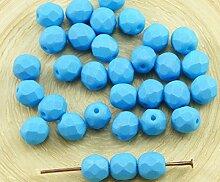 30pcs Matt Aqua Blue Silk Tschechische Glas Runde