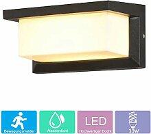 30W LED Aussenleuchte Bewegungsmelder, Schwarz