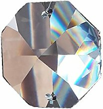 30x Kristall Koppen 14mm 2-Loch Octagon Achteck