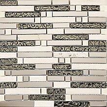 30x30cm Edelstahl, Glas und Naturstein Mosaik
