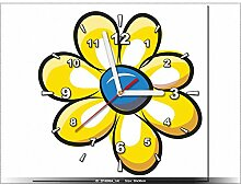 30x30cm - Leinwandbild mit Wanduhr - Moderne Dekoration - Holzrahmen - Zitrone Blume