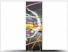 30x90cm - Leinwandbild mit Wanduhr - Moderne Dekoration - Holzrahmen - Rotierende Figur