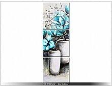 30x90cm - Leinwandbild mit Wanduhr - Moderne Dekoration - Holzrahmen - Magnolien in Blautönen