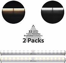 32 LED Schrankbeleuchtung, Elfeland Dimmbar Batteriebetrieben Schranklicht mit Bewegungsmelder, Sensor Schrankleuchte mit 2 Farbwechsel (weiß/warmweiß) Batteriebetrieben fürSchränke, Küche, Treppe (2 Pack)