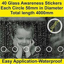 32Stück Glas Sicherheit Aufkleber Etch Effekt Vorne Shop terrassentüren Easy Anwendung Professional Smart Look (50mm Durchmesser X 3200mm Länge) pre-spaced